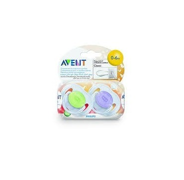 AVENT PHILIPS CHUPETE SILICONA CLASSIC TRASLUCIDOS 0- 6 MESES 2 U
