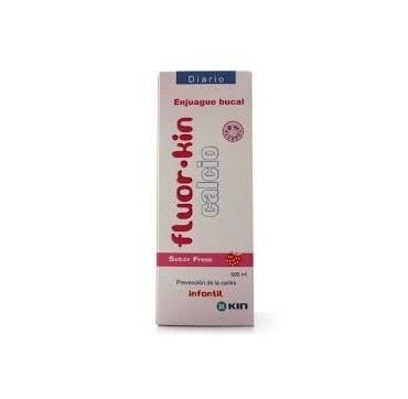 FLUOR KIN CALCIO ENJUAGUE BUCAL FRESA 500 ML