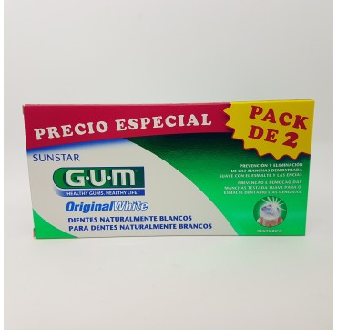 GUM ORIGINAL WHITE PASTA DENTAL 75 ML 2 TUBOS