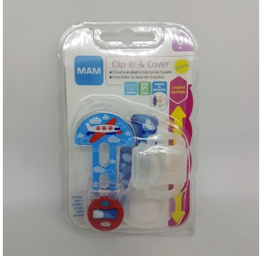 MAM BROCHE CADENITA DE CHUPETE CLIP IT! & COVER CON PROTECCION (BAJA)