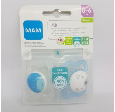 MAM CHUPETE SILICONA MINI AIR 0- 6 M PACK DOBLE