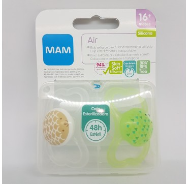 MAM CHUPETE SILICONA AIR +16M PACK DOBLE
