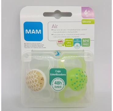 MAM CHUPETE SILICONA AIR +6M PACK DOBLE (iva21)
