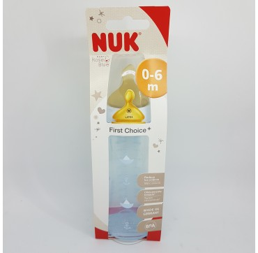 NUK BIBERON PP LATEX FIRST CHOICE 1M 300ML BLUE