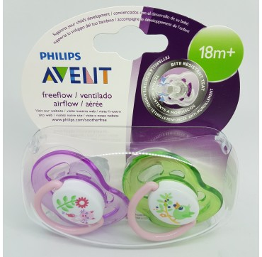 AVENT PHILIPS CHUPETE SILICONA FREEFLOW ANIMALITOS NIÑA +18 M 2 U